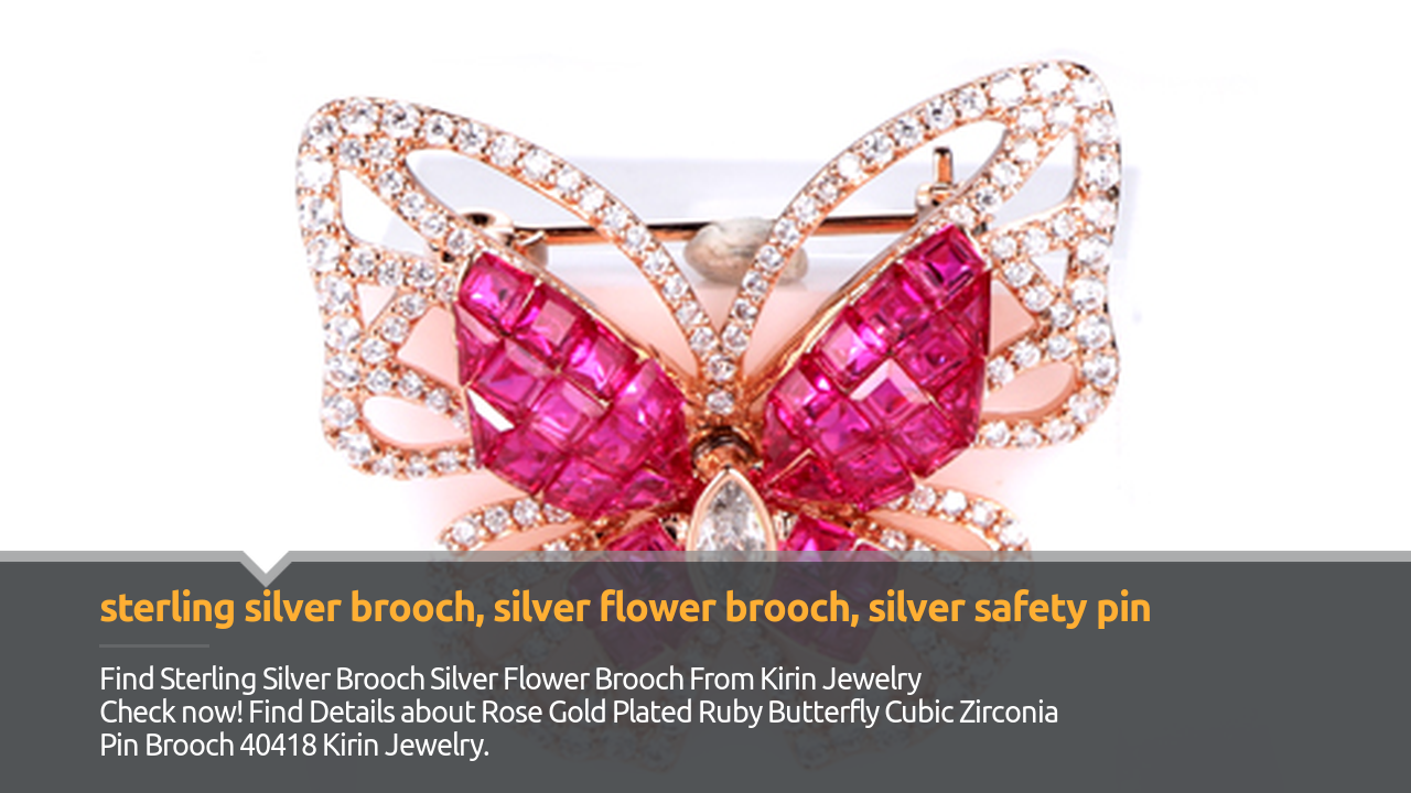 Rose Gold Plated Ruby Butterfly Cubic Zirconia Pin Brooch 40418 Seudan Kirin