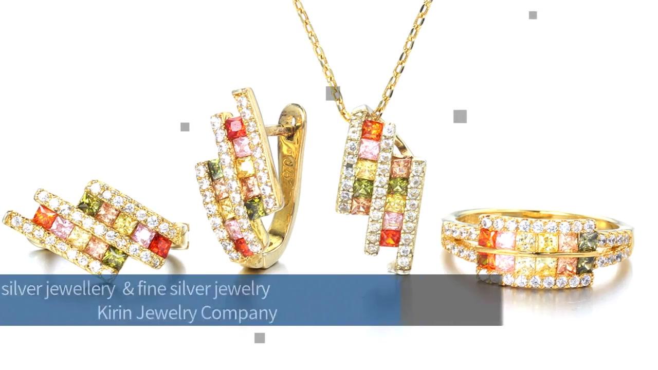 Set perhiasan perak 925 dengan Perhiasan Kirin 84470 bersalut Emas 14K