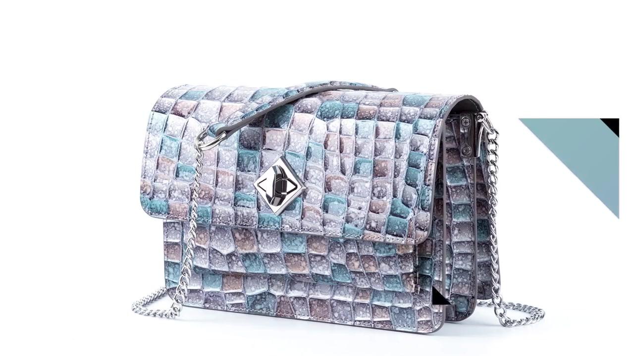 Best Cross Body Bag crystal pattern genuine leather metal strap Supplier