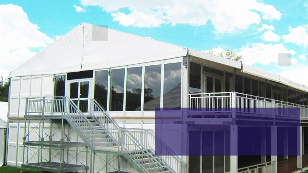 Pembuatan struktur aluminium double decker tenda dinding kaca