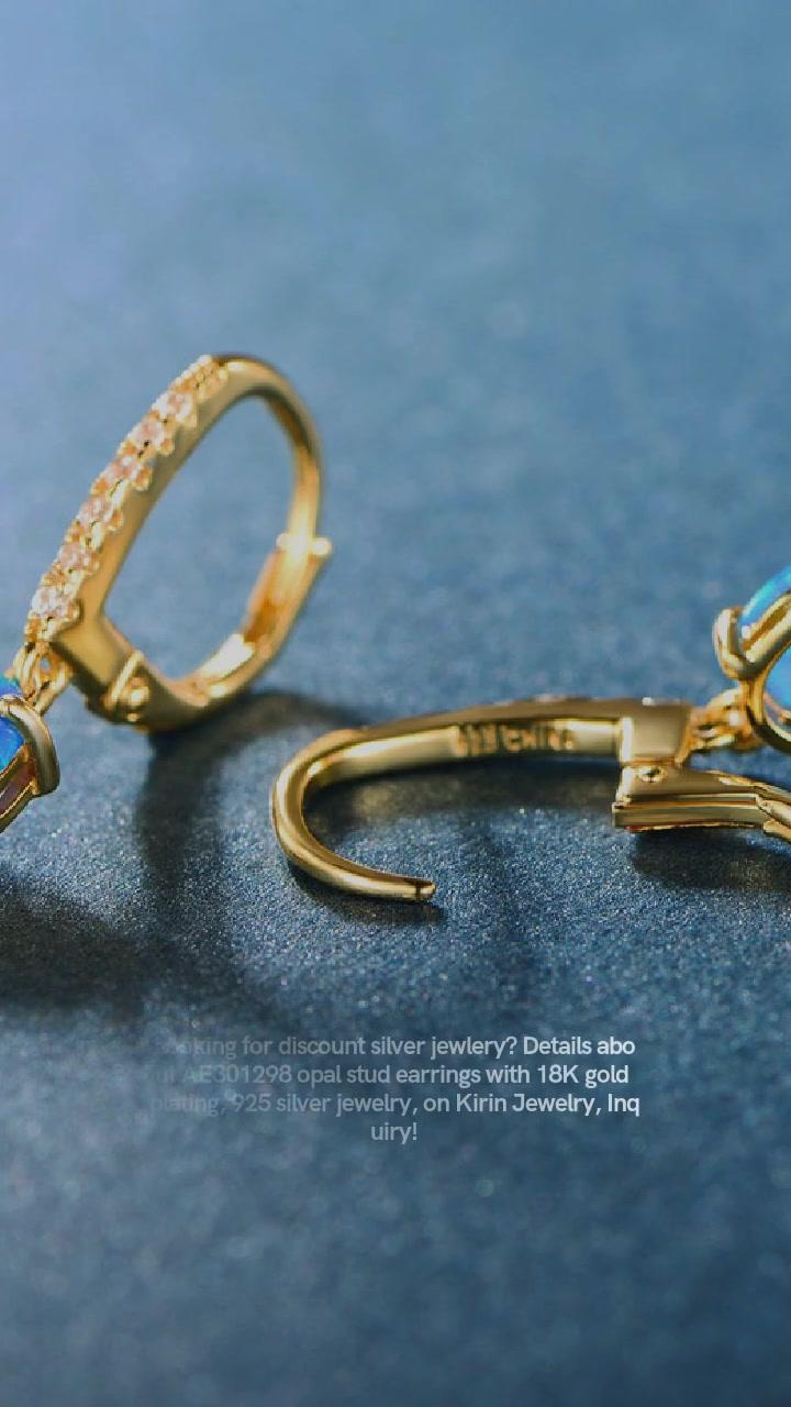 Anting-anting Stud Opal Berkualiti Tinggi dengan Penyaduran Emas 18K 301298 Borong-Kirin