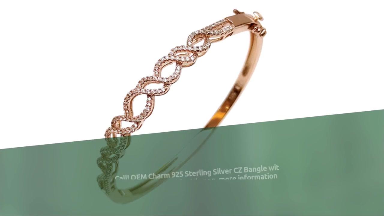 OEM Charm 925 Sterling Silver CZ Bangle nga adunay Rose Gold Plated alang sa Babaye 51165