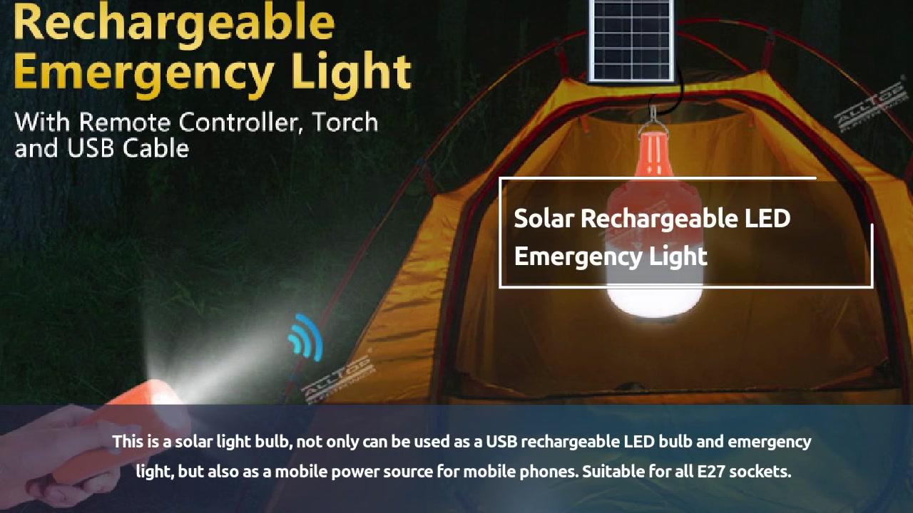 ALLTOP Outdoor Safety Solar Rechargeable LED Emergency Light