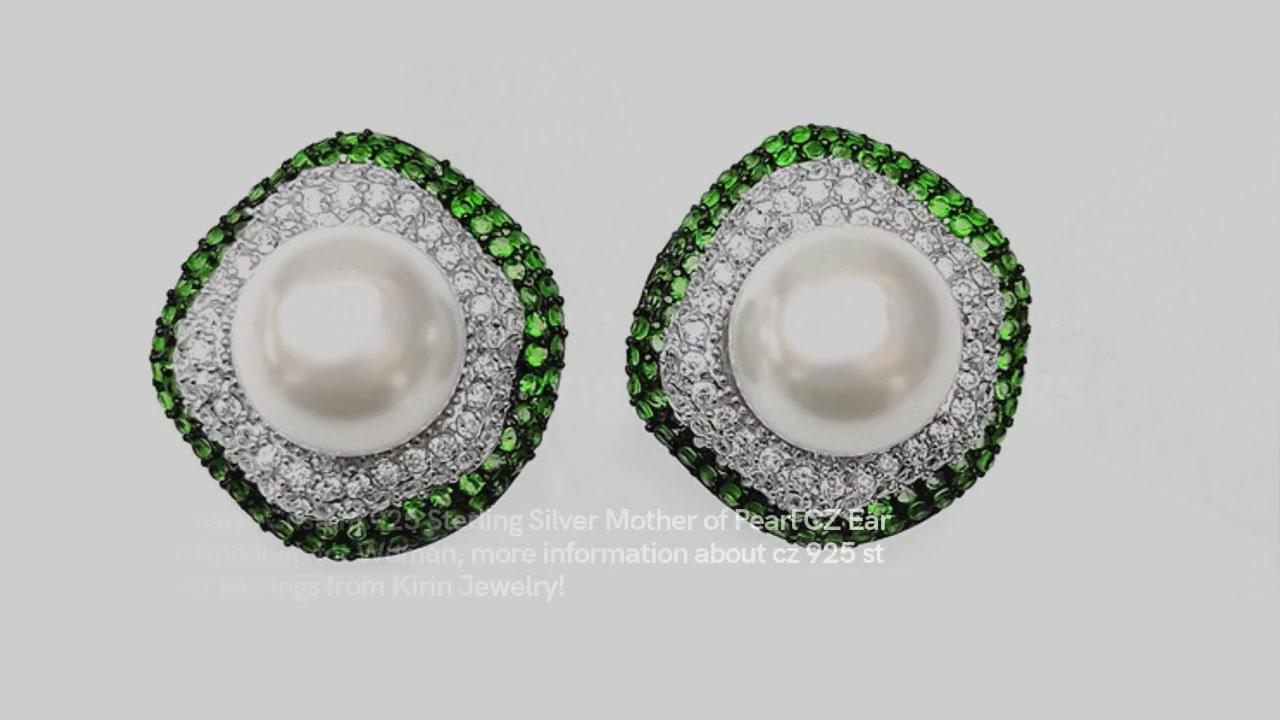 Charme brugerdefineret 925 sterling sølv perlemor CZ øreringe med rhodium til kvinde 32418