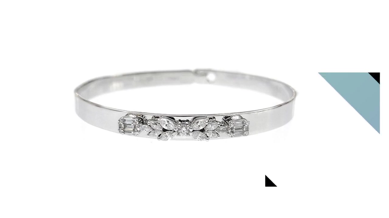 Classic 925 Sterling Silver Cubic Zirconia Bangle yokhala ndi Rhodium Plated for Woman 51156