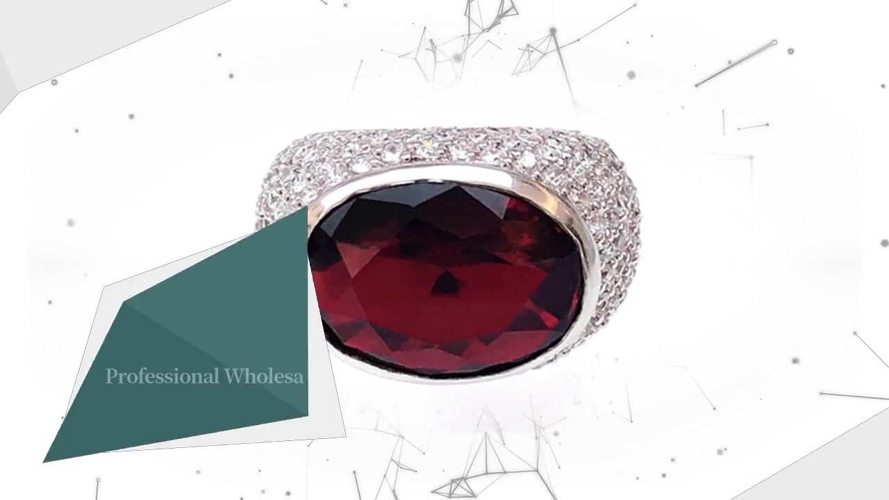 Anellu professionale d'argentu 925 in Argentu Sterling cù Rhodium Plated Ruby CZ 12341