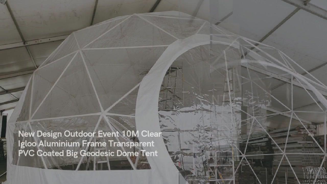 नयाँ डिजाइन आउटडोर घटना १० मे स्पष्ट इग्लो एल्युमिनियम फ्रेम पारदर्शी पीवीसी लेपित बिग जियोडसिक डोम टेंट