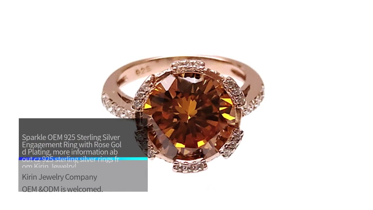 Sparkle OEM 925 Sterling Siliva Engagement mphete ndi Rose Gold Plating 102586