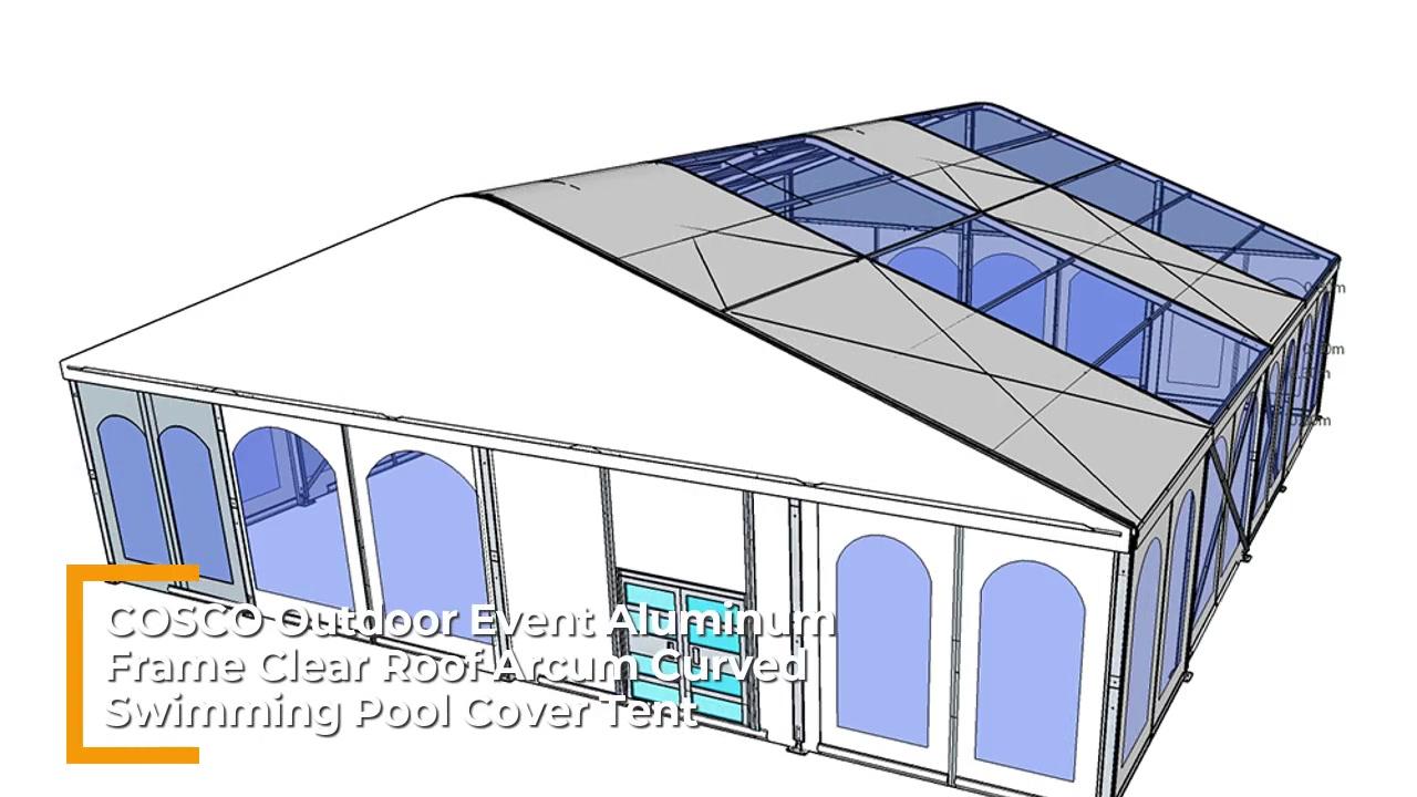 COSCO Надворешен настан Алуминиумска рамка Јасен покрив Аркам Закривен базен за капење