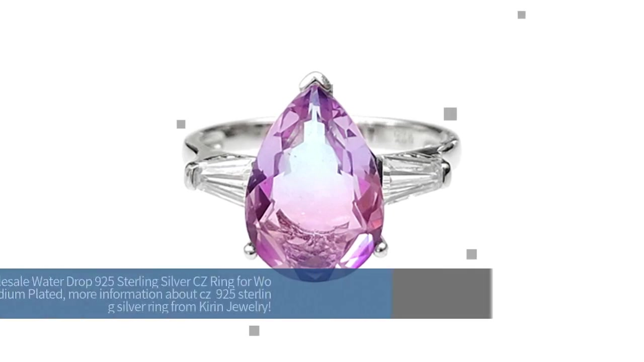 Wholesale Water Drop 925 Sterling Silver CZ Ring for Woman with Rhodium Plated 102263