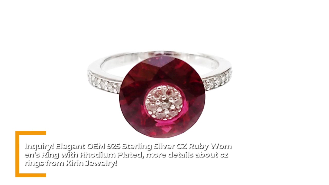 Rumium 85051RW nömrəli zərif OEM 925 Sterling Silver CZ Ruby Qadın Üzük