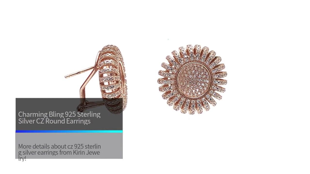 Uroczy Bling 925 Sterling Silver CZ okrągłe kolczyki z różowym złotem dla kobiety 34689