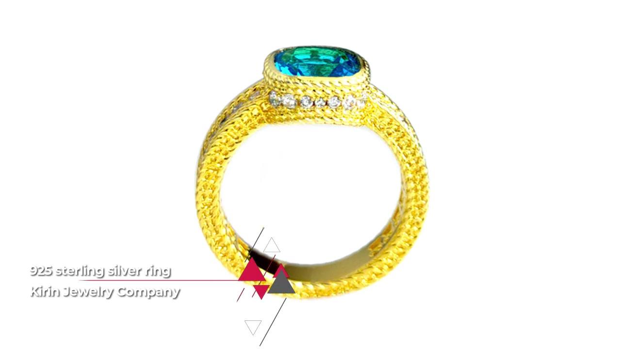 新潮订婚925纯银戒指,女士镀金106891