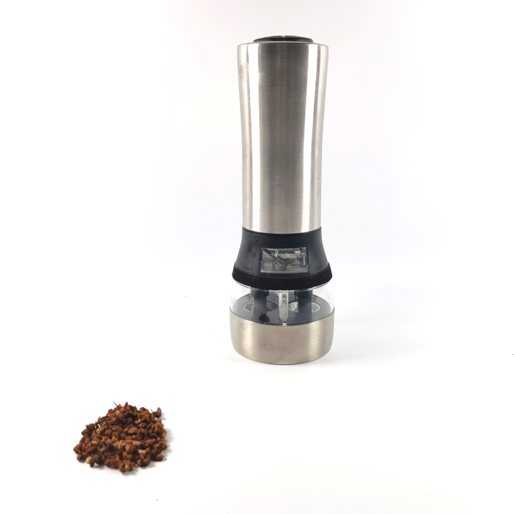 Kitchen Stainless Steel 2 in 1 Electric Salt and Pepper Mill Grinders with Adjustable Ceramic Core 9523