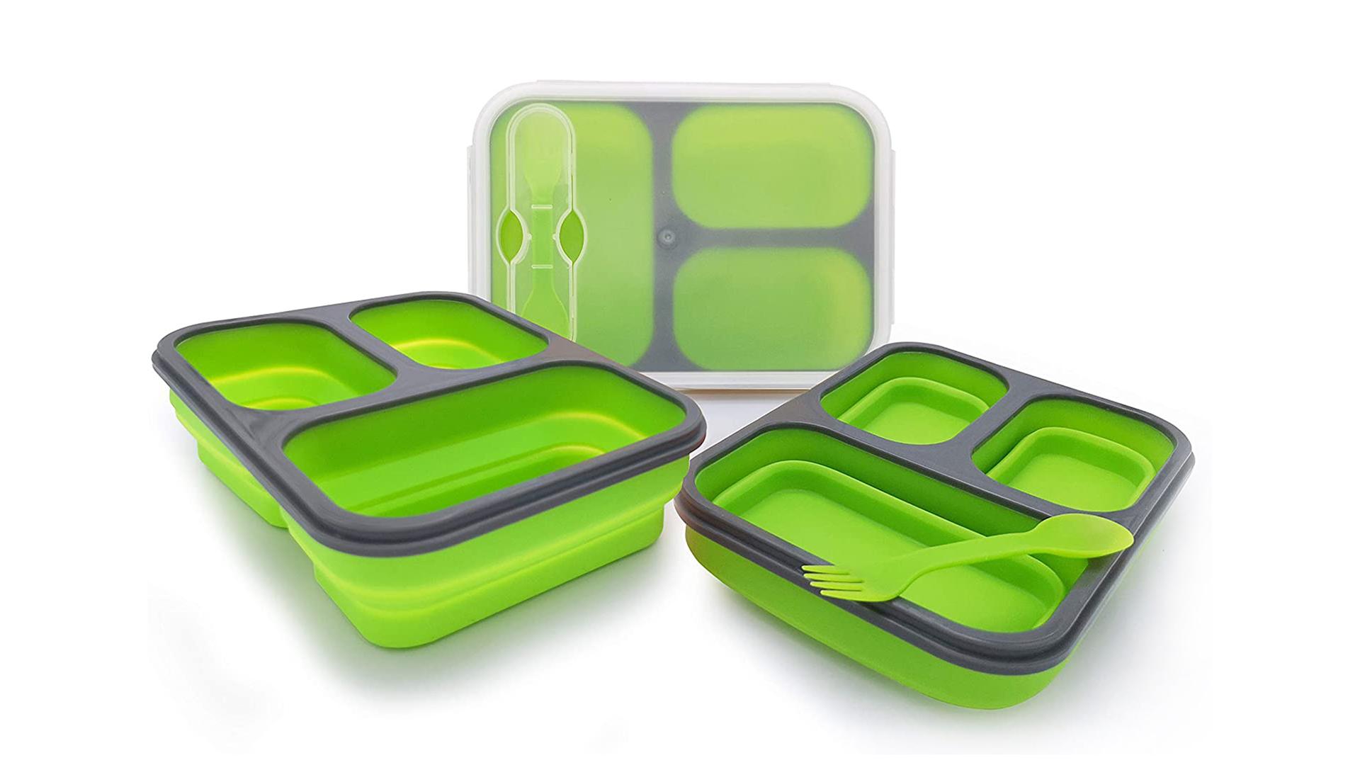 لطي سيليكون بينتو مربع 3-مقصورة الغذاء الصف سيليكون طوي الغداء مربع كيت dh- سيليكون