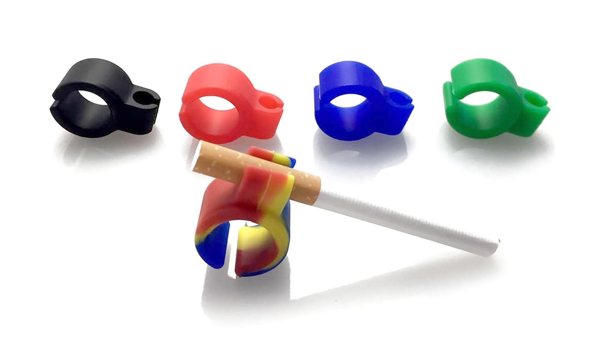 Porte-cigarette en silicone Bague Porte-titulaire émoussé Anneau de doigt pour tous les fumeurs DH Silicone