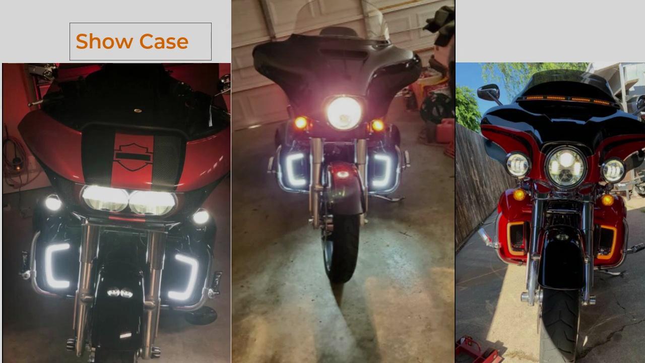 광주 AUKMA 베스트 세일 페어링 하부 그릴 LED 회전 신호 조명 Harley 여행 오토바이