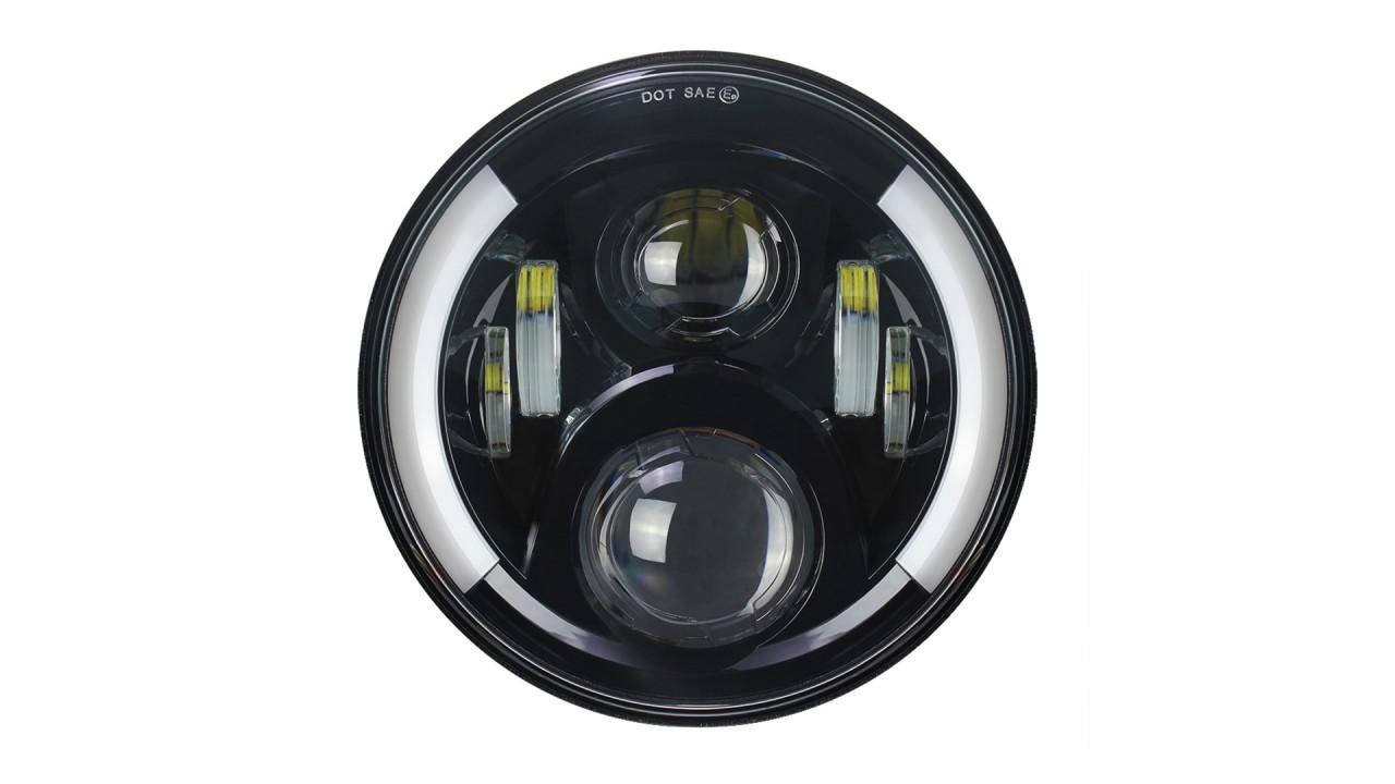 Commercio all'ingrosso 7 pollici Indicatori di direzione a LED Fari Halo Angle Eye DRL Kit per Jeep Wrangler JK TJ CJ LJ Moto