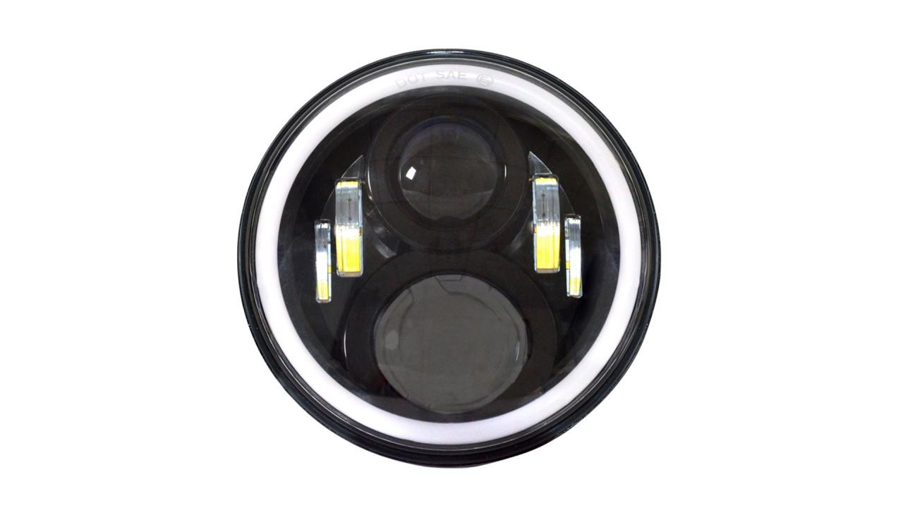 Best Used For Jeep Wrangler JK TJ CJ LJ 7 Inch LED Headlights Halo Angle Eye Turn Signals Black Housing