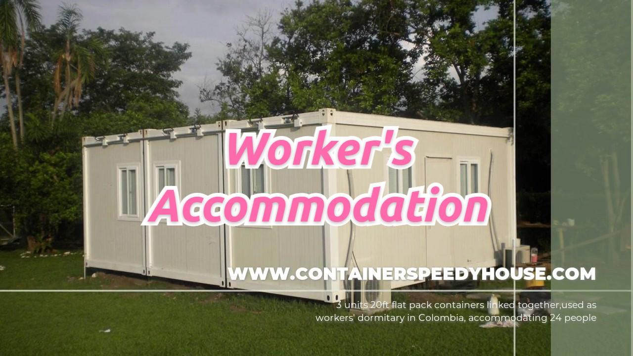 Contenedor de paquete plano para alojamiento para trabajadores.