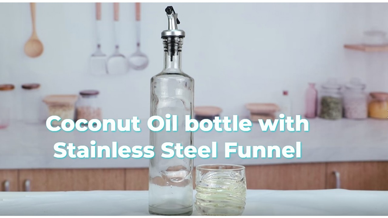 Coconut Oil Bottle With Stainless Steel Funnel