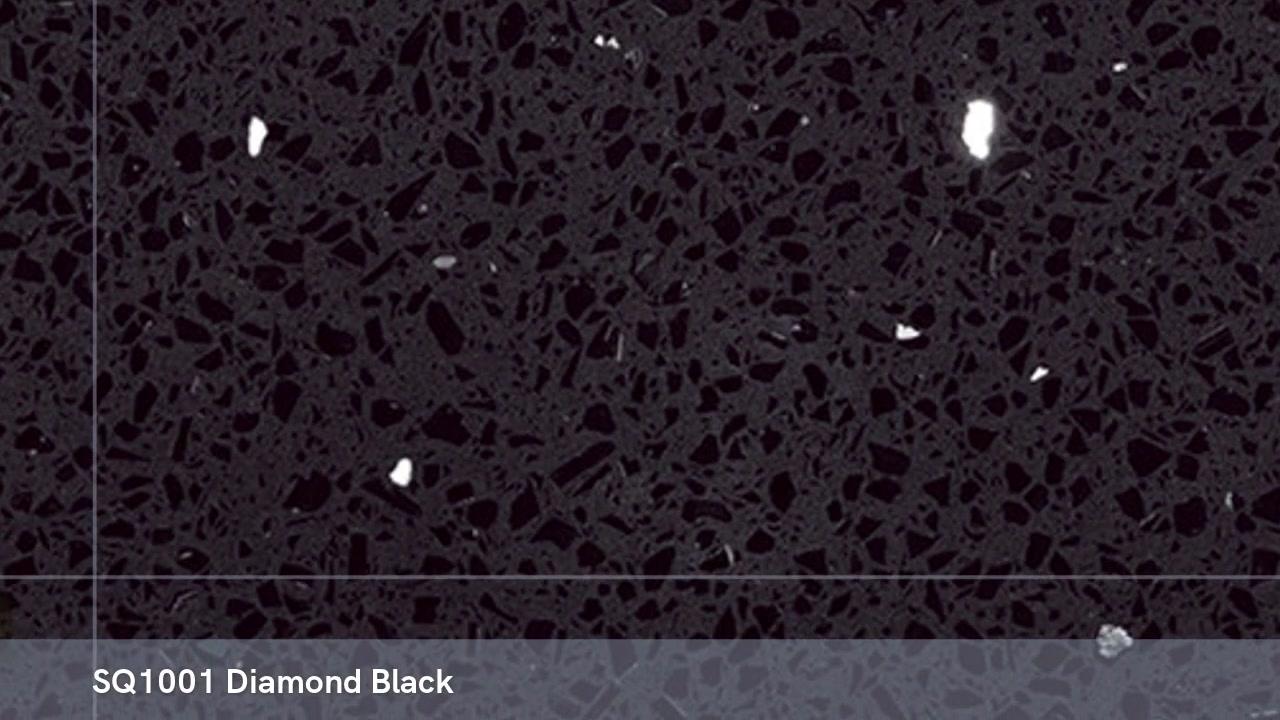 SQ1001 diamond black China polished 3200X1600 engineered quartz stone slab
