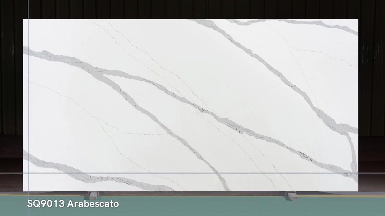 Quartzo forte branco Calacatta Quartz Slab Kicthen Bancada