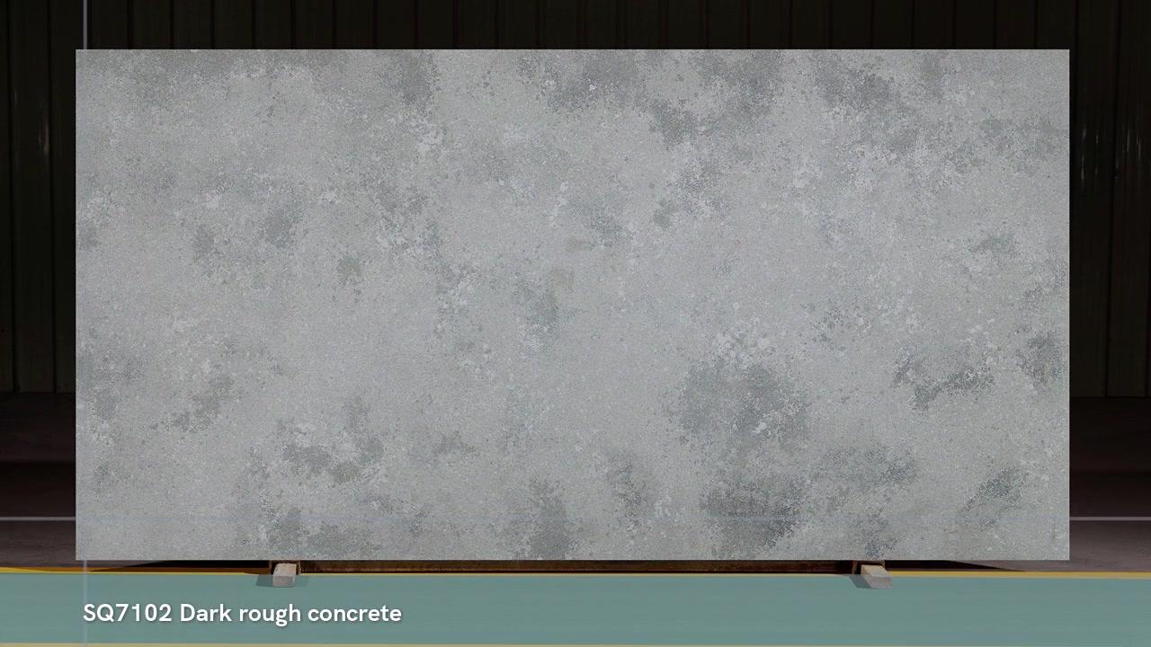 SQ7102 Pedra de quartzo artificial de concreto áspero escuro com superfície de pincel