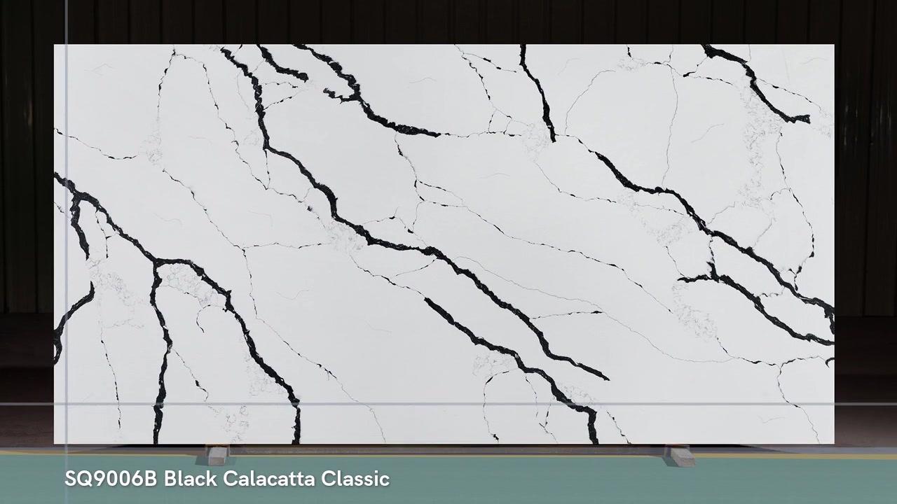 Quartzo Forte Calacatta Pedra de Quartzo Com Veias Balck Brancas