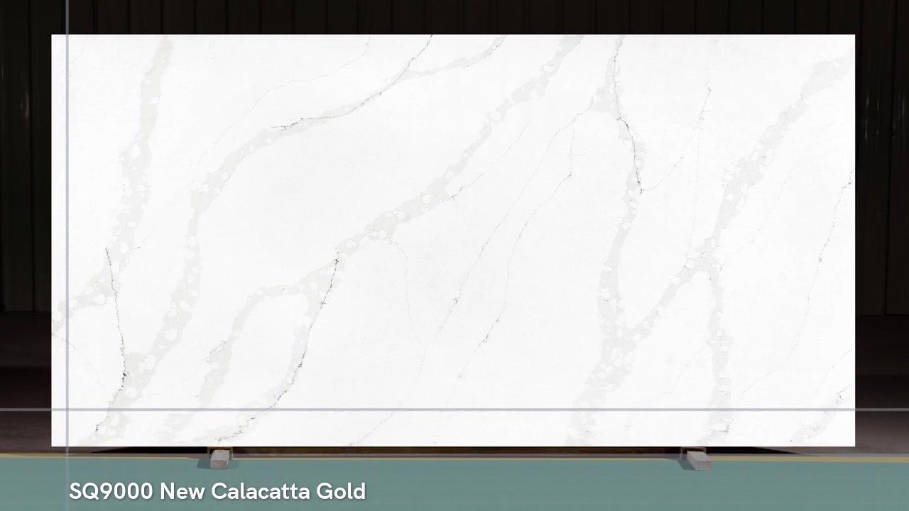 SQ9000 New Calacatta Gold Veines Artificielles Dalles de pierre de quartz en Chine
