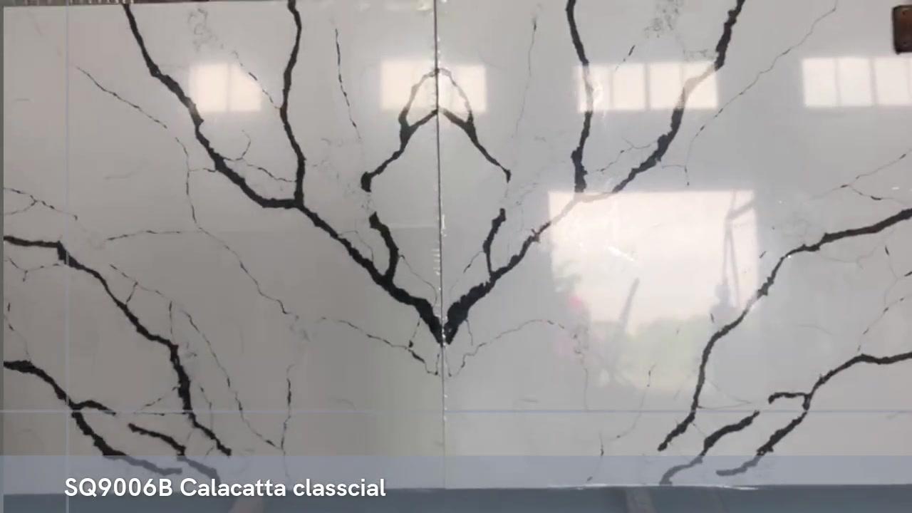 SQ9006B BETHMACH CALACATTA CLASSCIAL SLABS حجر مع الأوردة السوداء