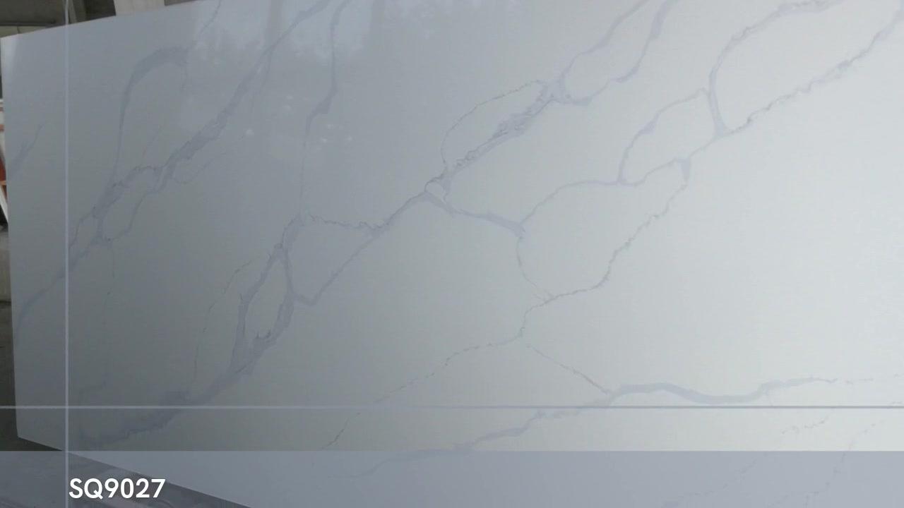 SQ9027 جديد CALACATTA أبيض مع رمادي Viens ألواح حجرية الكوارتز الاصطناعية للقمم عداد المطبخ