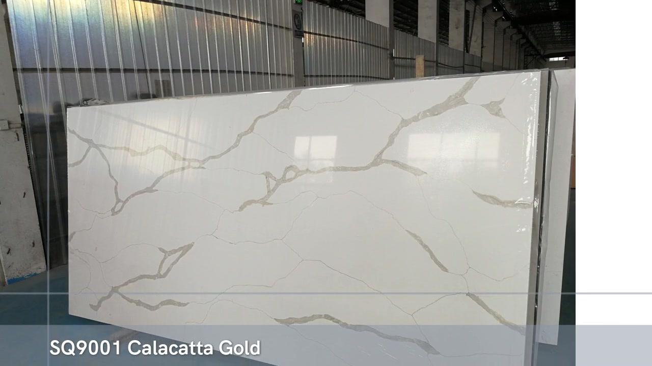 SQ9001 Calacatta Calacutta Gold Veias Artificial Quartz Stone em Guangdong China