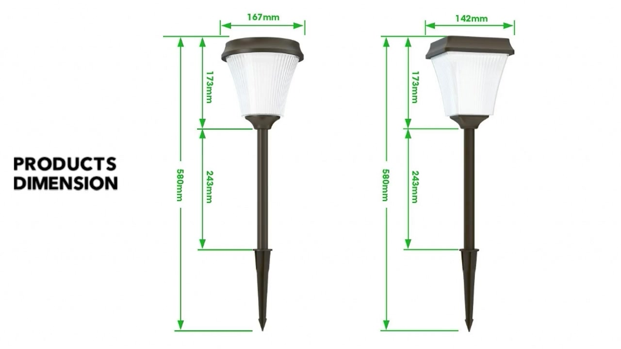 Dove & Fane Series Solar Pathway Lights Outdoor, Solar Powered Garden Lights, Waterproof Led Path Lights for Patio, Lawn, Yard and Landscape