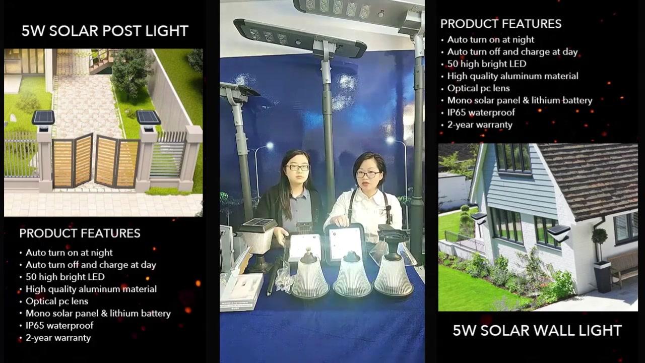 5W high lumen IP65 waterproof outdoor solar gate post pillar light led