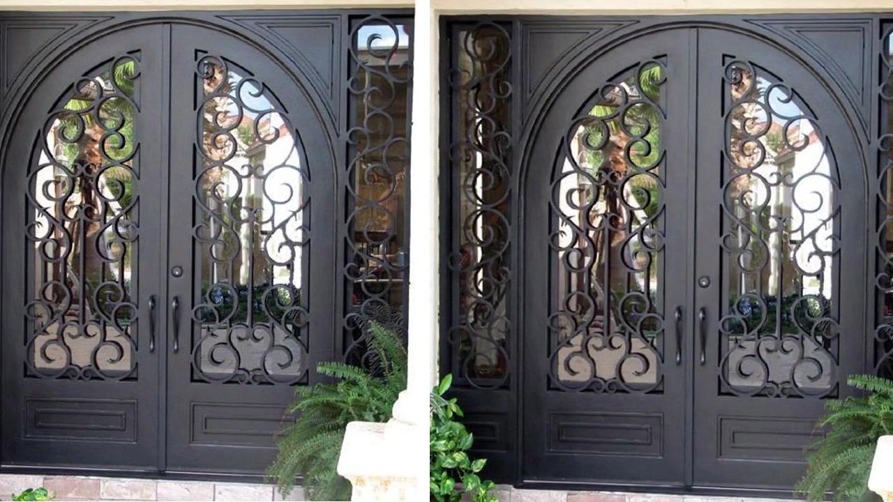 Tym-04 custom processing luxury large arc iron double door