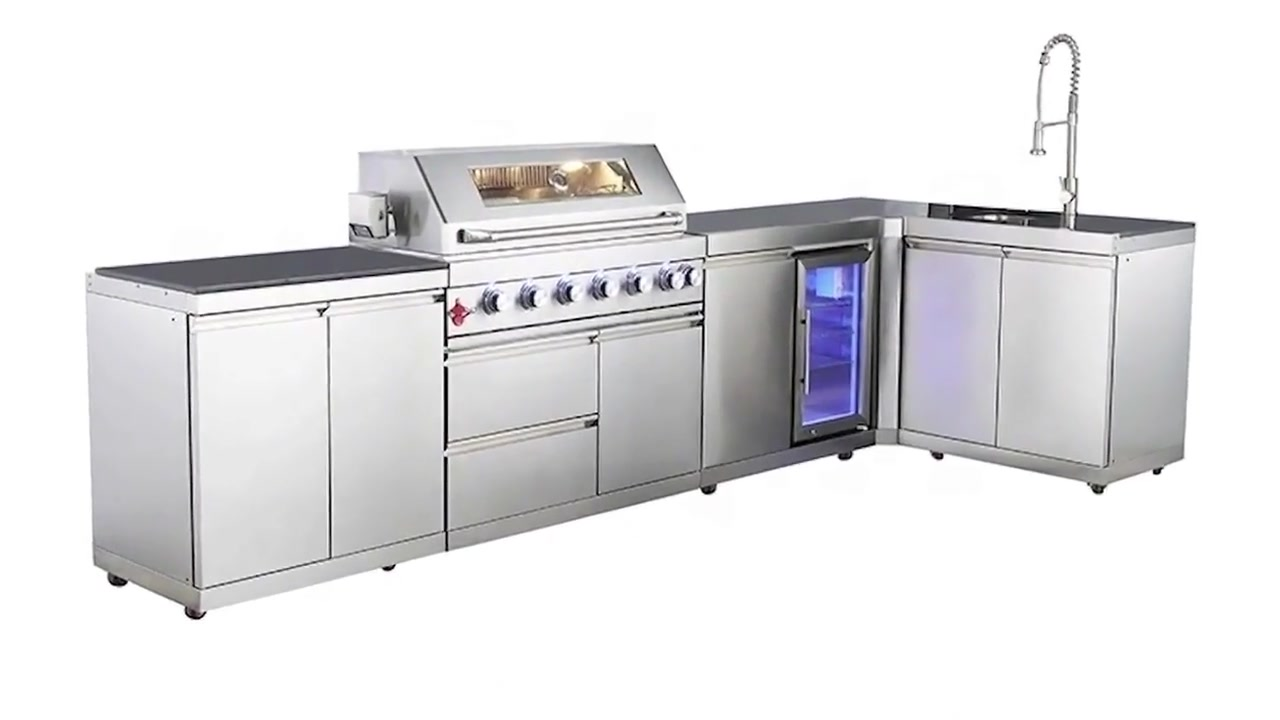 WST-001-4-S lauko virtuvės sala Nerūdijančio plieno BBQ dujų grilis Grilis Grill