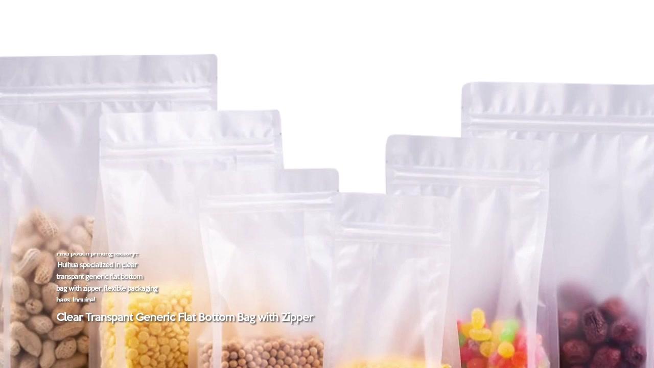 Clear Transpant Generic Flat Bottom Bag with Zipper
