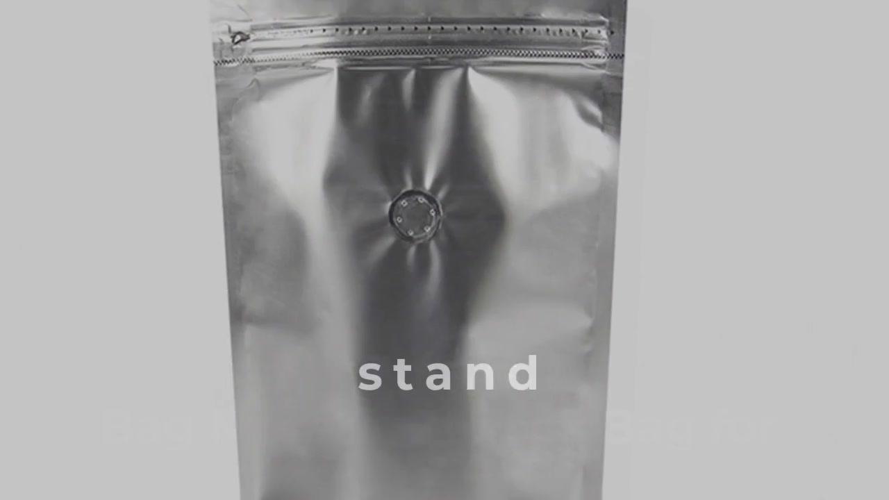 Generic Zipper Stand Up Pouch Bag Metallic Ziplock Bag for Food