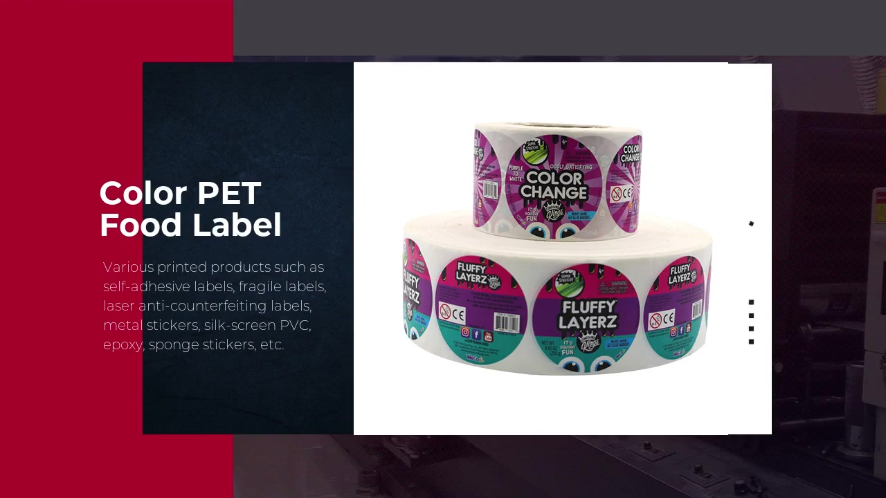 Roll Color Printing Custom PET Candy Food Packaging Stickers