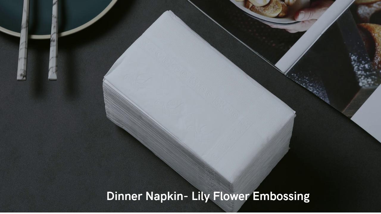 Manufacture Embossed Flower 1/8fold Dinner Paper Napkin Restaurant Napkin