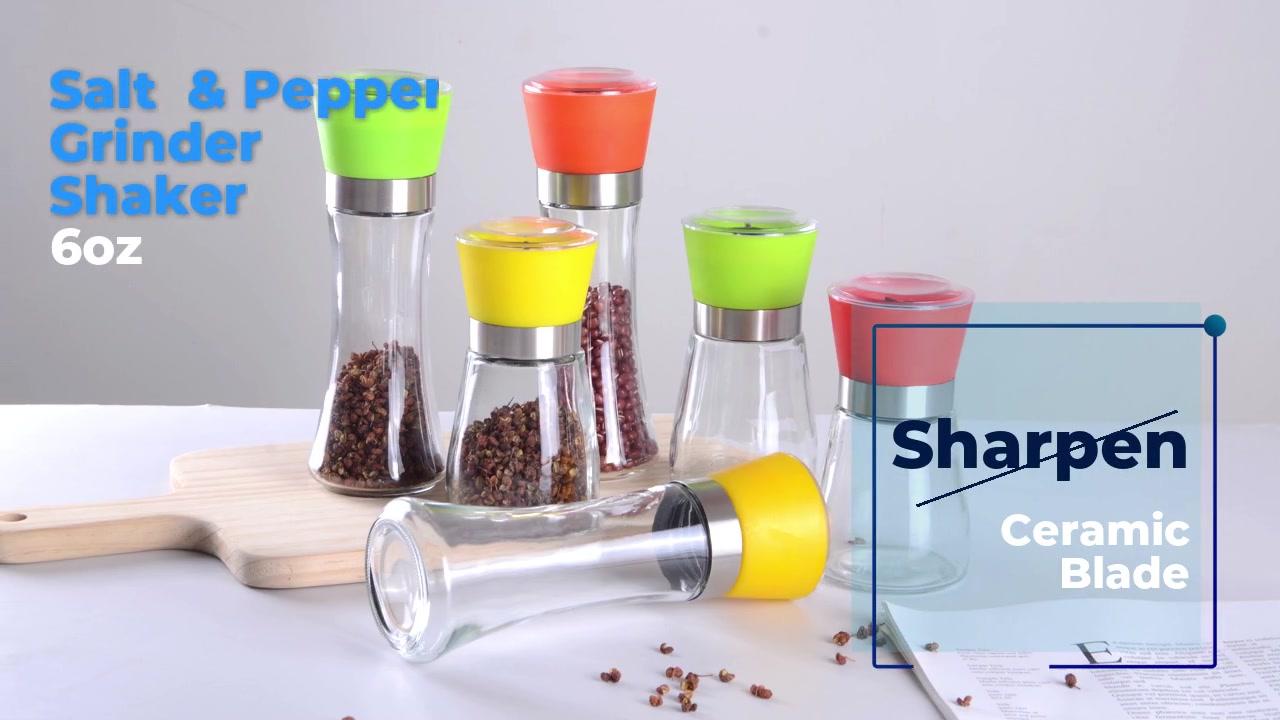 6OZ Salt & Pepper Grinder Shaker-Sharpen Ceramic Blade And Stainless Glass Jar - Adjustable Coarseness - Boxed