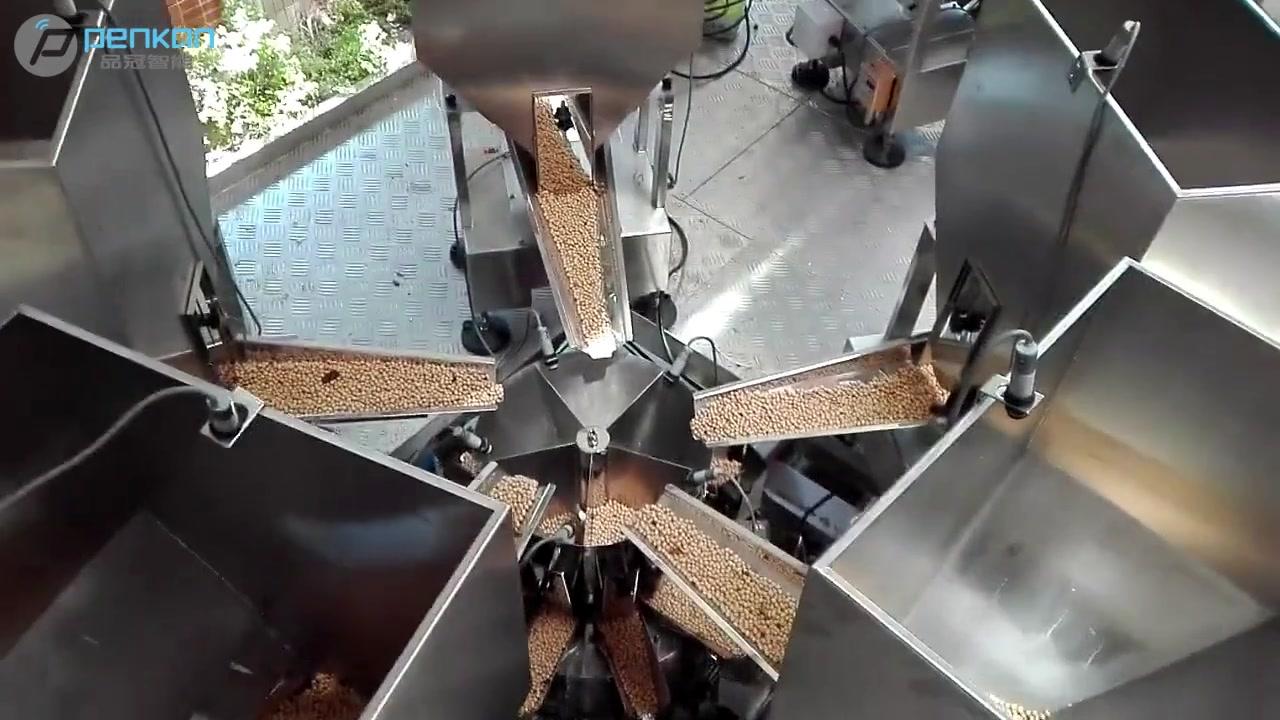 peseuse linéaire pour 10 haricots pesant le système d'emballage de remplissage