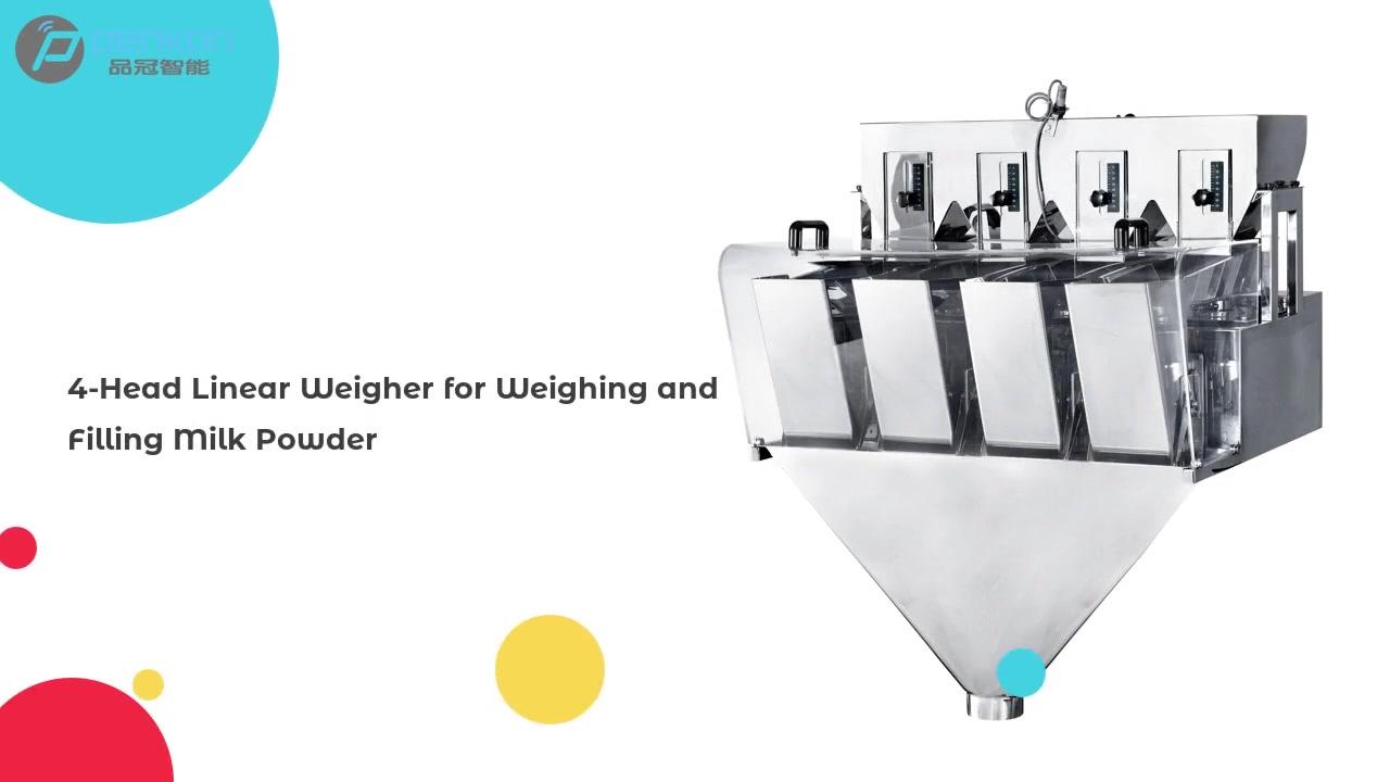 ที่กำหนดเอง 4 หัว Weigher เชิงเส้นสำหรับการชั่งน้ำหนักและบรรจุนมผงจากประเทศจีน