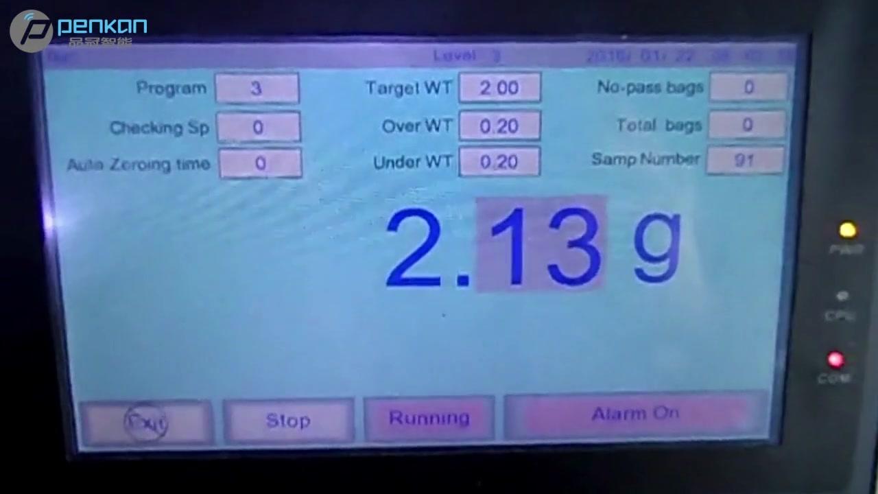 Pesadora de alimentos de la industria cuantitativa Pesadora automática de control de cinta transportadora 200g