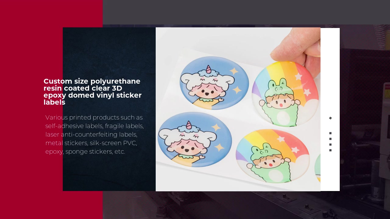 Custom size polyurethane resin coated clear 3D epoxy domed vinyl sticker labels