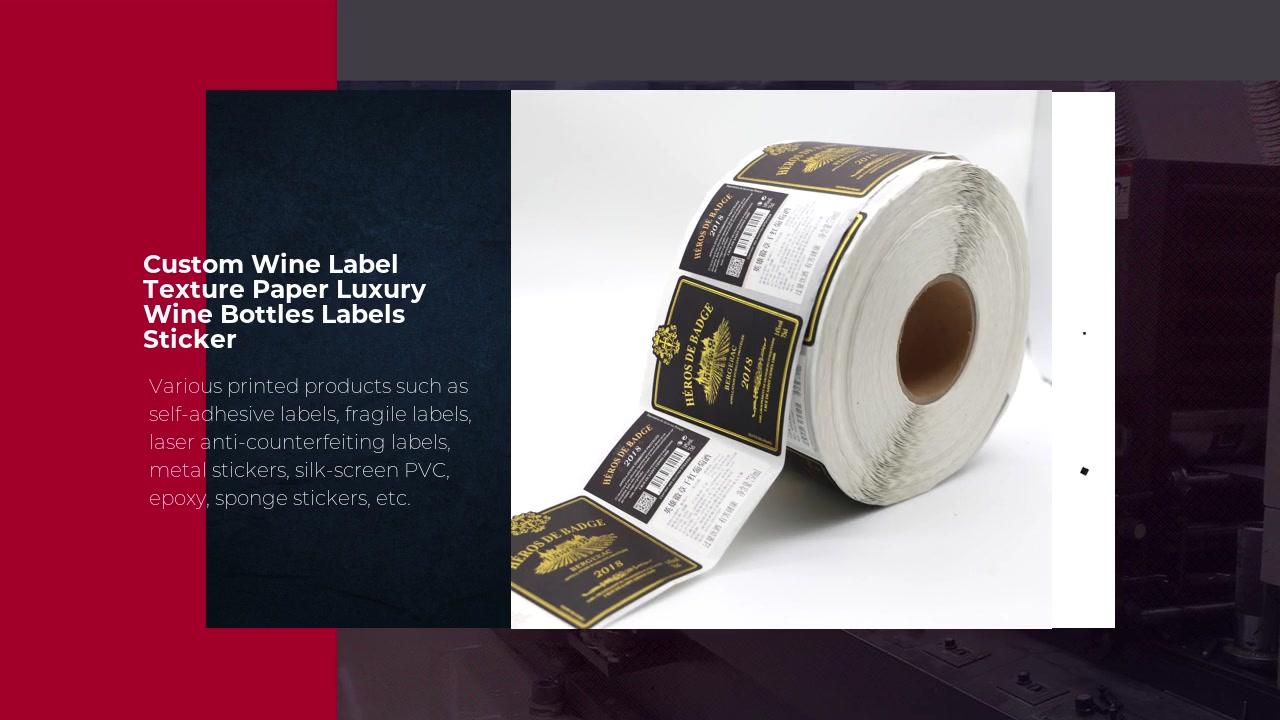 Custom Wine Label Texture Paper Luxury Wine Bottles Labels Sticker