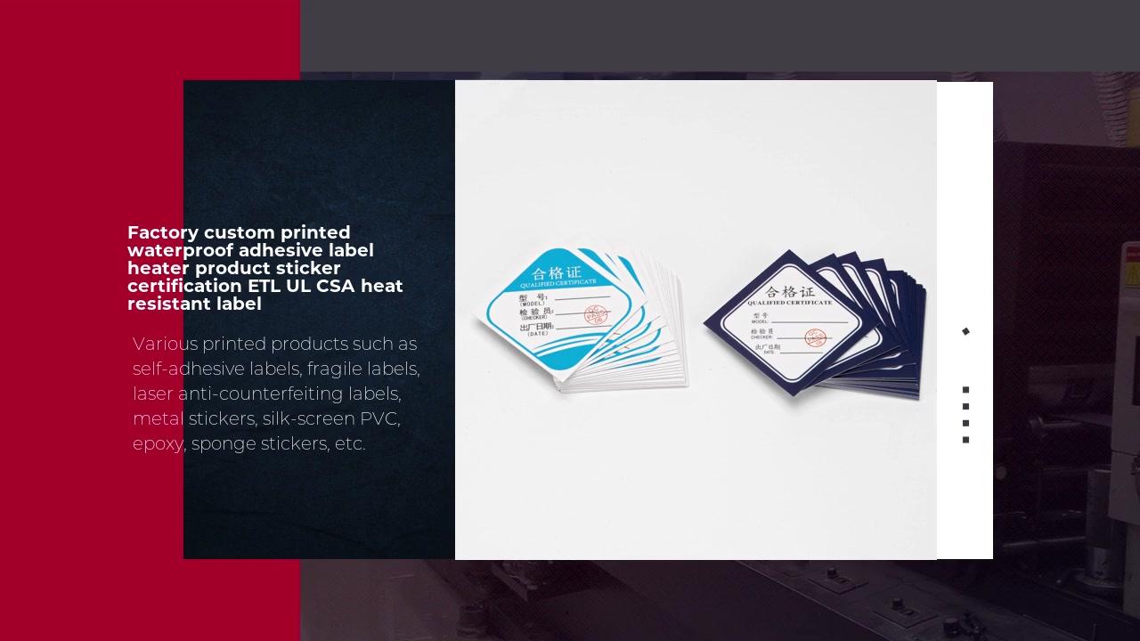 Factory custom printed waterproof adhesive label heater product sticker certification ETL UL CSA heat resistant label