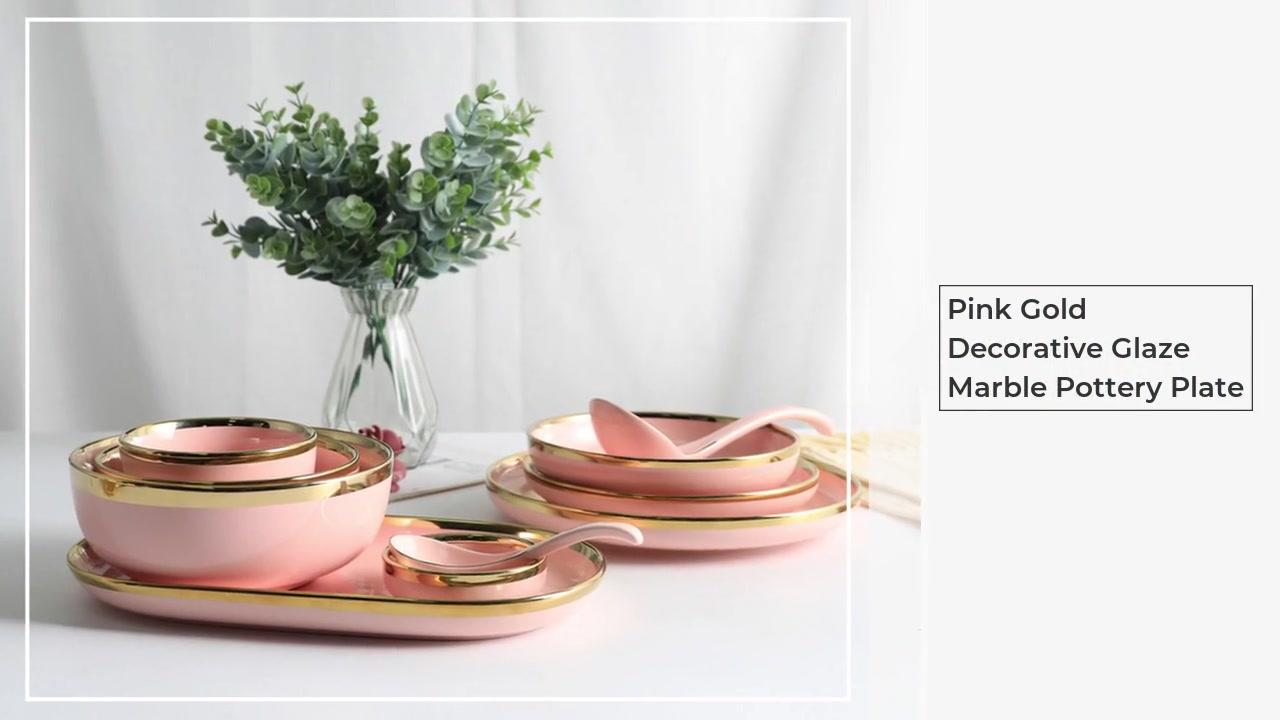 Placa de cerâmica de mármore de mármore de esmalte decorativo de ouro rosa