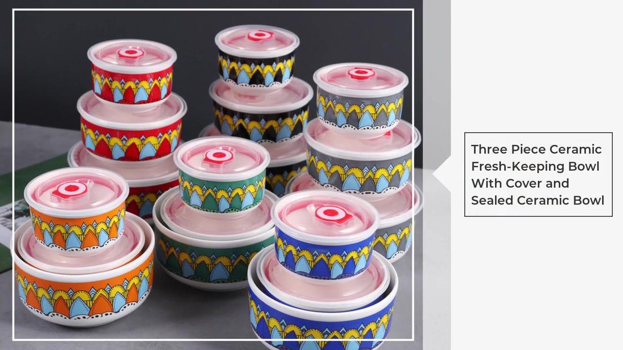 Bol de trois pièces en céramique avec cuvette et bol en céramique scellé